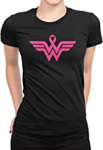 Breast Cancer Awareness Pink Ribbon Superhero Logo Ladies T-Shirt