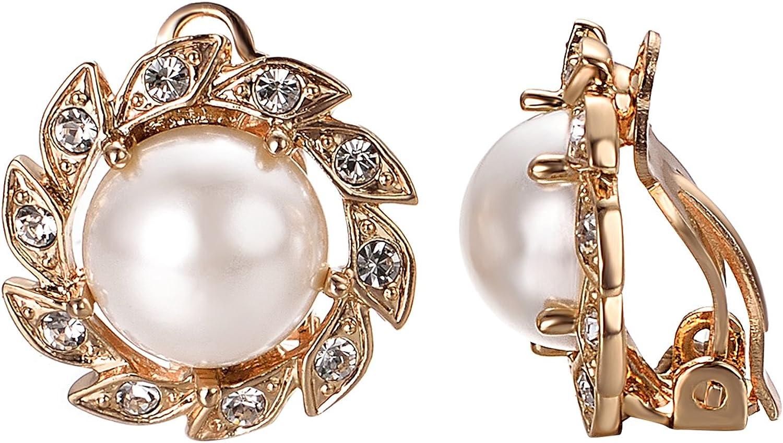 JOLCHIF Faux Pearl Clip on Earrings for Women 18K Rose Gold CZ Crystal Earrings Womens Fashion Vintage Earrings Wedding Jewelry