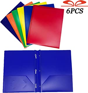 GIFTEXPRESS Pack of 6, Assorted Solid Color 3-Prong Poly Portfolio with 2 Pockets, Two Pocket Poly File Folder, 3 Hole Plastic Folder-Strong and Durable Plastic