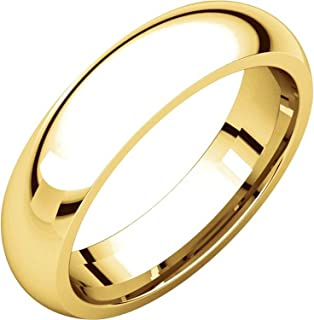 Men's and Women's 14k Yellow Gold, 5mm Wide, Heavy Comfort Fit, Plain Wedding Band