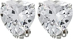 Heart CZ Stud Clip Earrings