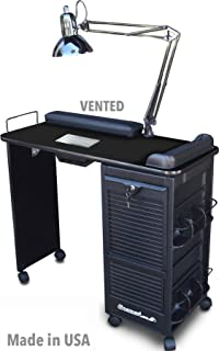 B605 Vented Manicure Nail Table Station w/Lockable Cabinet All Black Made in USA by Dina Meri