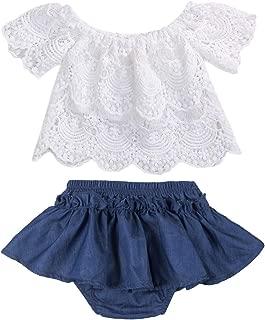 2Pcs Toddler Baby Girls Short-Sleeve Lace T-Shirt Tops Tutu Skirt Shorts Outfits Set Clothes