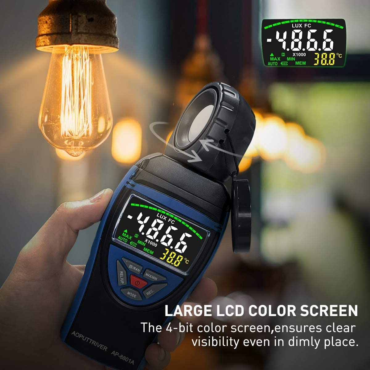 Digital Illuminance//Light Meter AP-8801C Light Meter for Photography Measure Light 0.1~400,000 Lux with Extendable Light Detector up to 2m Data Hold Lux//FC Selection for Par Photography Plants