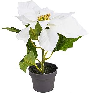 URBNLIVING 20cm Decorative Artificial Realistic Indoor Poinsettia Flower Leaves Plant Pot (White, 1)
