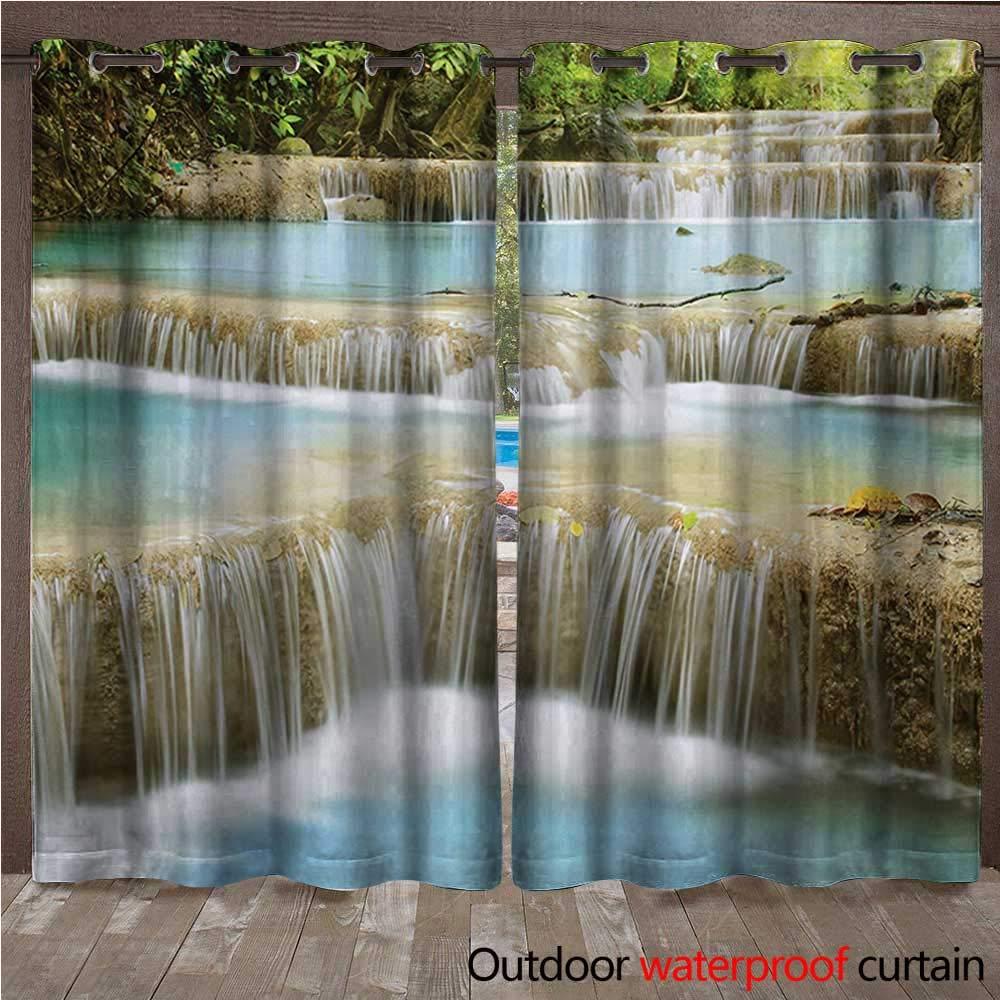 BlountDecor Cortina para Ventana con diseño de Cascada, Bosque lluvioso en Vietnam Laos con árboles de Color Rosa y Naranja del Lado del río ImageW108 x L96 Azul: Amazon.es: Jardín