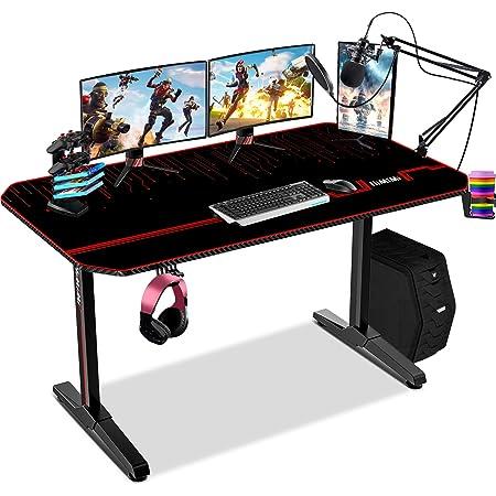 Himimi 55'' Bureau Gaming, 140 x 61 x 76 cm Ergonomic Bureau Gamer Bureau Gaming PC, Gaming Desk pour Bureau à domicile avec Grand Tapis de Souris Porte Gobelet Support Casque & Poignée de jeu