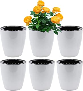 SAND MINE Self Watering Planter White Flower Pot (6, XL)
