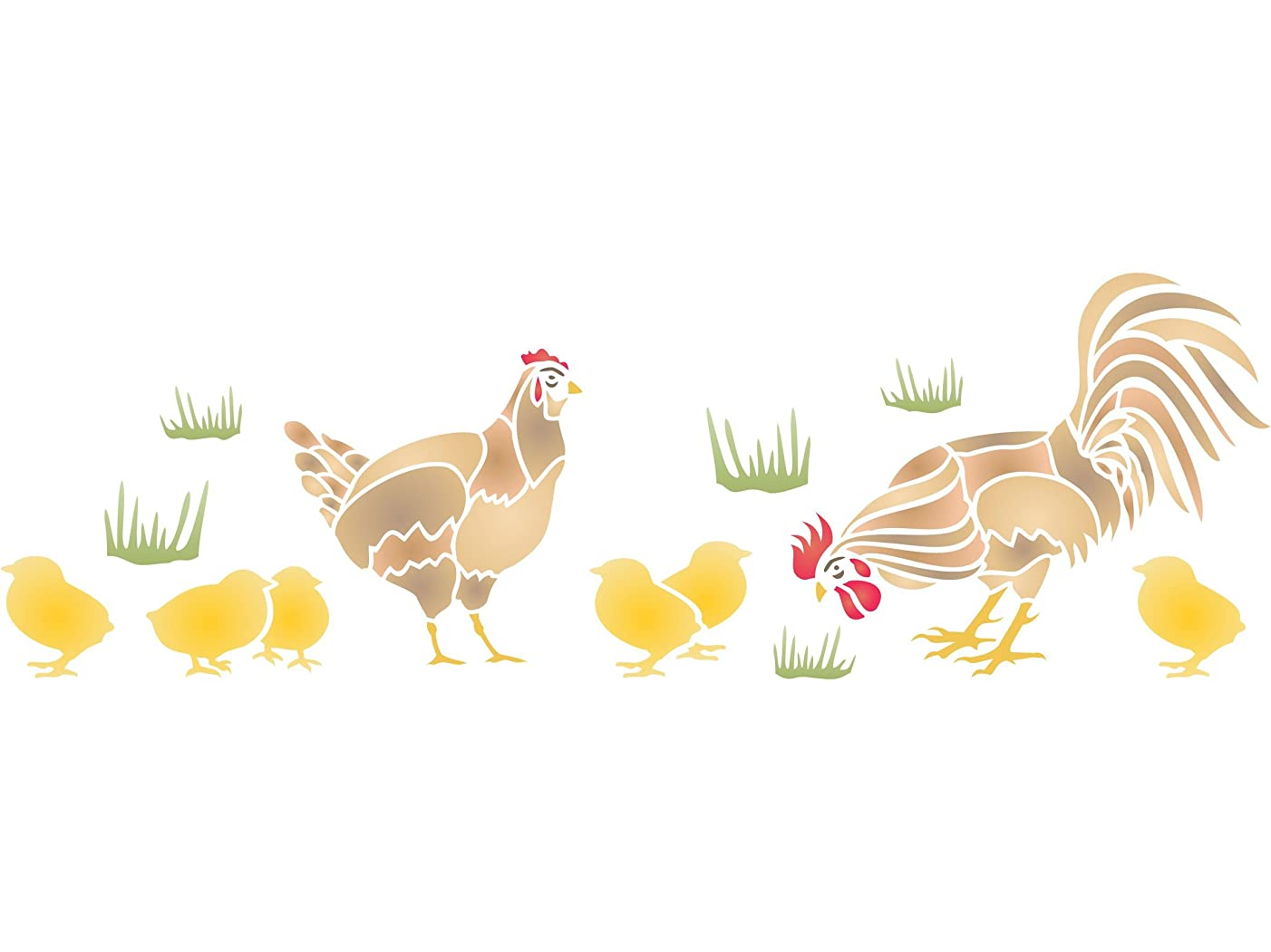 """Chicken Stencil - (size 20""""w x 6.5""""h) Reusable Wall Stencils for Painting - Best Quality Wall Bird Animal Stencil Ideas - Use on Walls, Floors, Fabrics, Glass, Wood, Terracotta, and More…"""