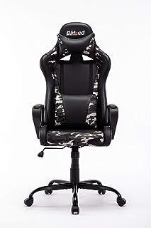 كرسي ألعاب من الجلد الصناعي بارتفاع المقعد قابل للتعديل من بليتزد أوميجا مع دعم قطني (أوميغا-كامو الأساسي)