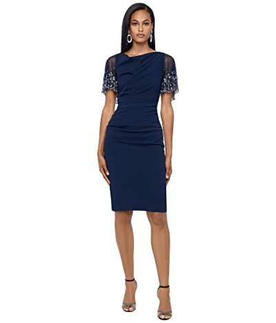 Betsy & Adam Short Ruched Crepe w/ Beaded Flutter Sleeve
