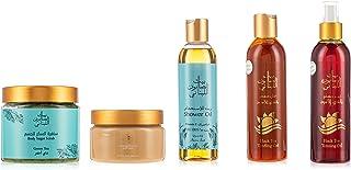 Bayt Al Saboun Al Loubnani Black Tea Tanning Set VII (Tanning Oil 250ml + Tanning Gel 250ml + Sun Butter 300g + Scrub Gree...