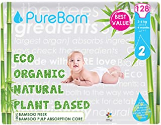 PureBorn Disposable Baby Diapers, Size 2-3 to 6 Kg - 128 Count - Leopard