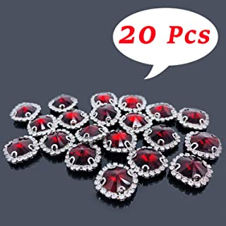 Flat Back Rhinestones Buttons Embellishments with Diamond, Sew On Crystals Glass Rhinestone for Clothing Wedding Bouquet(20pcs) Red