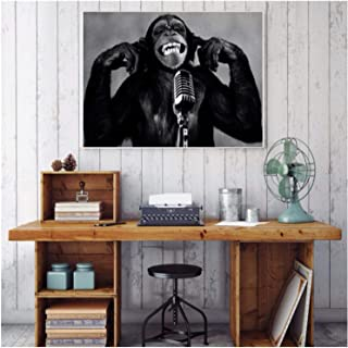 ZFLSGWZ Animal Orangutan Music Monkey Canvas Painting Wall Pictures For Living Room Decoration Maison Poster Black White A...