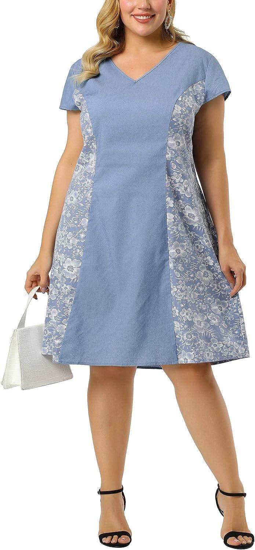 Agnes Orinda Plus Size Denim Dress for Women V Neck a Line Cap Sleeve Floral Chambray Midi Dresses
