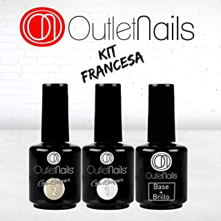 Pack Esmalte Permanente Manicura Francesa UV/LED - 15ml / Francesa / Color natural / Base y Brillo
