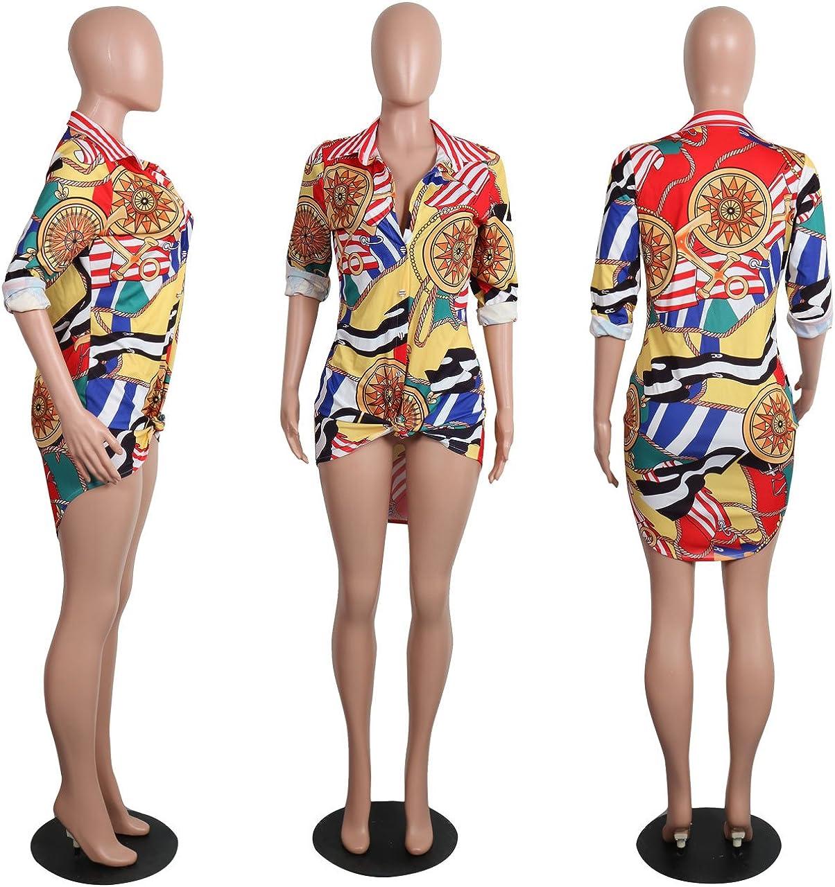 Women Button Down Collar Dashiki Floral Long Shirt Blouse Mini Dress Top