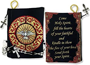 Religious Gifts Come Holy Spirit Tapestry Pouch Keepsake Holder Prayer Black Red 5 1/2 Inch