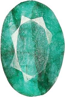 Real-GEMS - Gemas sueltas de esmeralda natural, 16,00 quilates, forma ovalada, verde esmeralda, piedra de nacimiento de ma...