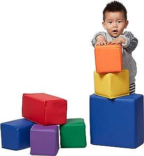 ECR4Kids Softzone Foam Stacking Blocks, Soft Building Blocks for Baby, Assorted (7-Piece Set)