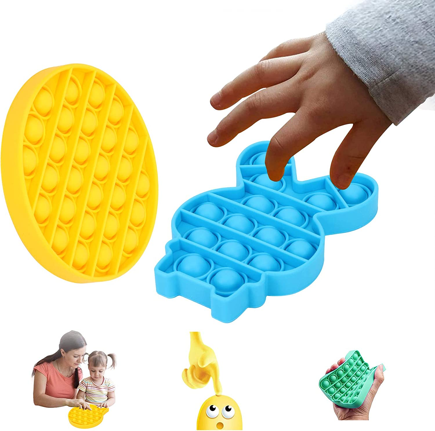 Relieve Stress Sensory Toy Push pop Bubble Sensory Fidget Toy Autism Special Needs Stress Reliever Help Restore Emotions Anxiety Relief Toys Silicone Extrusion Bubble Fidget Squeeze Toys B
