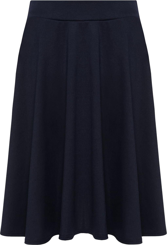 Rimi Hanger Womens Plain Flared Skater Skirt Ladies Stretch Elasticated Waist Short Skater Skirt UK14-UK28