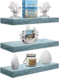 Sorbus Floating Shelf Set — Rustic Wood Coastal Beach Style Hanging Rectangle Wall Shelves for Home Décor, Trophy Display, Photo Frames, etc (3-Pack, Rectangle Shelf Set -Green)