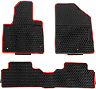 biosp Car Floor Mats for Hyundai Santa fe 2013-2018 Front And Rear Heavy Duty Rubber Liner Set Black Red Vehicle Carpet Custom Fit-All Weather Guard Odorless