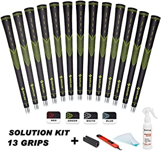 SAPLIZE Golf Grips, 13 Grips (with Solvent, Tapes, Hook Blade, Vise Clamp), Standard/Midsize, White/Green/Red/Blue, Golf Club Grips