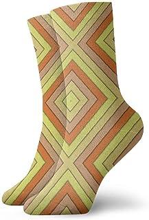 tyui7, Calcetines de compresión rombos abstractos coloridos antideslizantes Calcetines deportivos acogedores de 30 cm para hombres, mujeres, niños