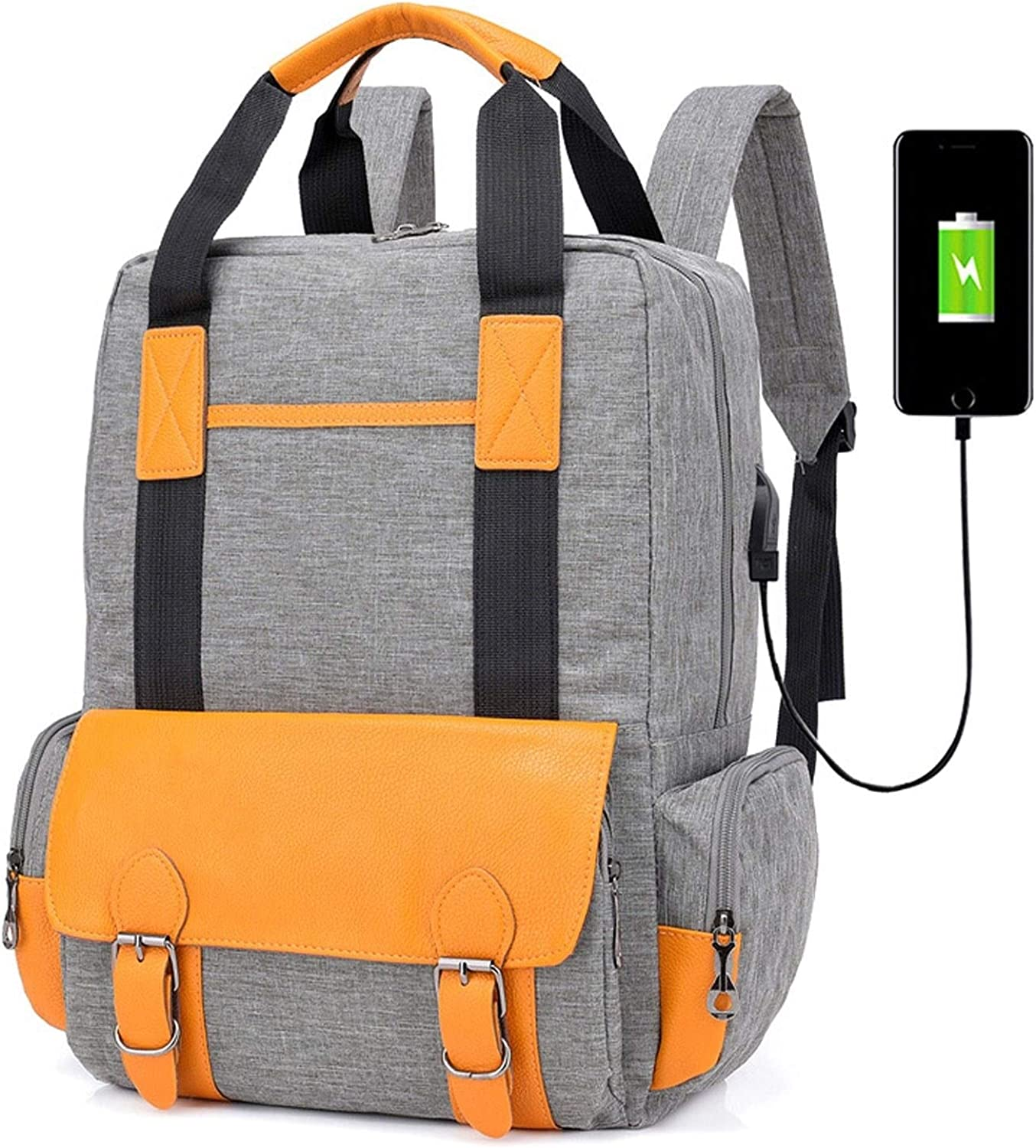 USB Charging Backpack, Outdoor Sports Bag Large Capacity Oxford Cloth Bag Travel Bag Men and Women Waterproof Student Bag Leisure Travel Backpack