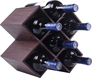 Kaydian Krafts Countertop Wine Rack - 6 Bottle Decorative Tabletop Wine Bottle Holder - No Assembly Required - Bamboo Brown