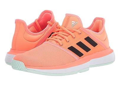 adidas Kids SoleCourt X Tennis (Little Kid/Big Kid) (Signal Coral/Black/Dash Green) Kids Shoes
