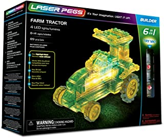 Laser Pegs Farm Tractor 6-in-1 Building Set; The First Lighted Construction Toy to Ignite Your Child's Creativity; It's Your Imagination, Light It Up