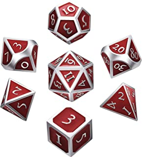 Hestya 7 Pieces Metal Dices Set DND Game Polyhedral Solid Metal D&D Dice Set with Storage Bag and Zinc Alloy with Enamel f...