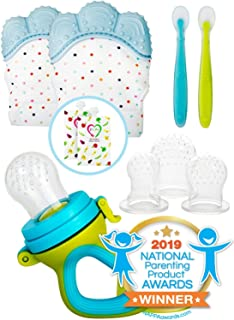 Teething Mittens for Babies with Baby Food Feeder Pacifier   Teether Set Perfect to Soothe Tender Gums   Fruit Feeder Pacifiers Safe Way to Introduce Solid Foods   Ideal Teething & First Baby Feeding