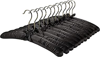 FloridaBrands Anti Slip Satin Padded Hangers Black Soft Fabric with Gold Hook - Heavy Duty for Women's Clothes, Coat, Blouse, Sweaters, Dresses, Clothing - Set of 12