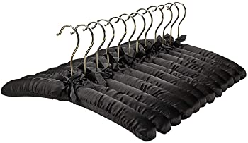 """NEW LOT OF 6-15/"""" Soft Satin Padded Delicate Lingerie Dress Hangers BlaCK"""