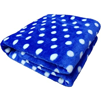 Brandonn Polka Wrapping Sheet Cum Baby Blanket for Babies (Royal Blue, 75cmx98cm)