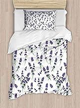 shirlyhome Deluxe - Juego de sábanas de poliéster con diseño Floral con Reflejo en un río Imagen de Agua, Color Azul Violeta, poliéster, Color09, Matrimonio