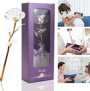 24K Rose Eternelle, Fleurs Artificielles Deco, Fête des Mères Cadeau pour Maman, Cadeau Anniversaire pour Femmes Petite Am...