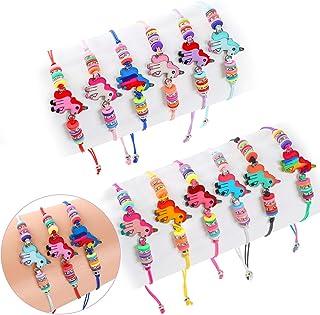Golray 12 Pcs Unicorn Bracelets for Kids Girls Jewelry, Unicorn Party Favors Multicolor Woven Bracelets for Kids Prize Pretend Play Bracelets Unicorn Goodies Bag Fillers Friendship Bracelets