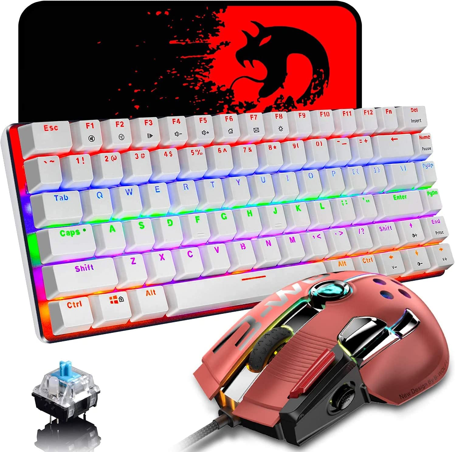 Mechanical Keyboard and Mouse Combo Wired 82 Keys Rainbow Backlit Gaming Keyboard Blue Switch, 12000 DPI with 12 Button Programmable Mouse Compatible with Laptop PC Gamer Computer Typist Desktop
