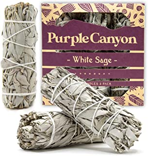 PURPLE CANYON White Sage Bundles Gift Set - (3 Pack) - Sage Smudge Stick for Home Cleansing Incense Healing & Meditation (...
