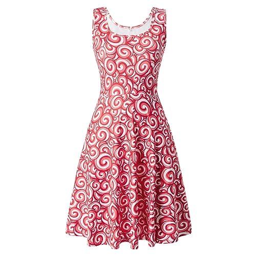 593c44b9c76 Uideazone Women s Sleeveless Scoop Neck Summer Beach Casual Midi A Line  Dress