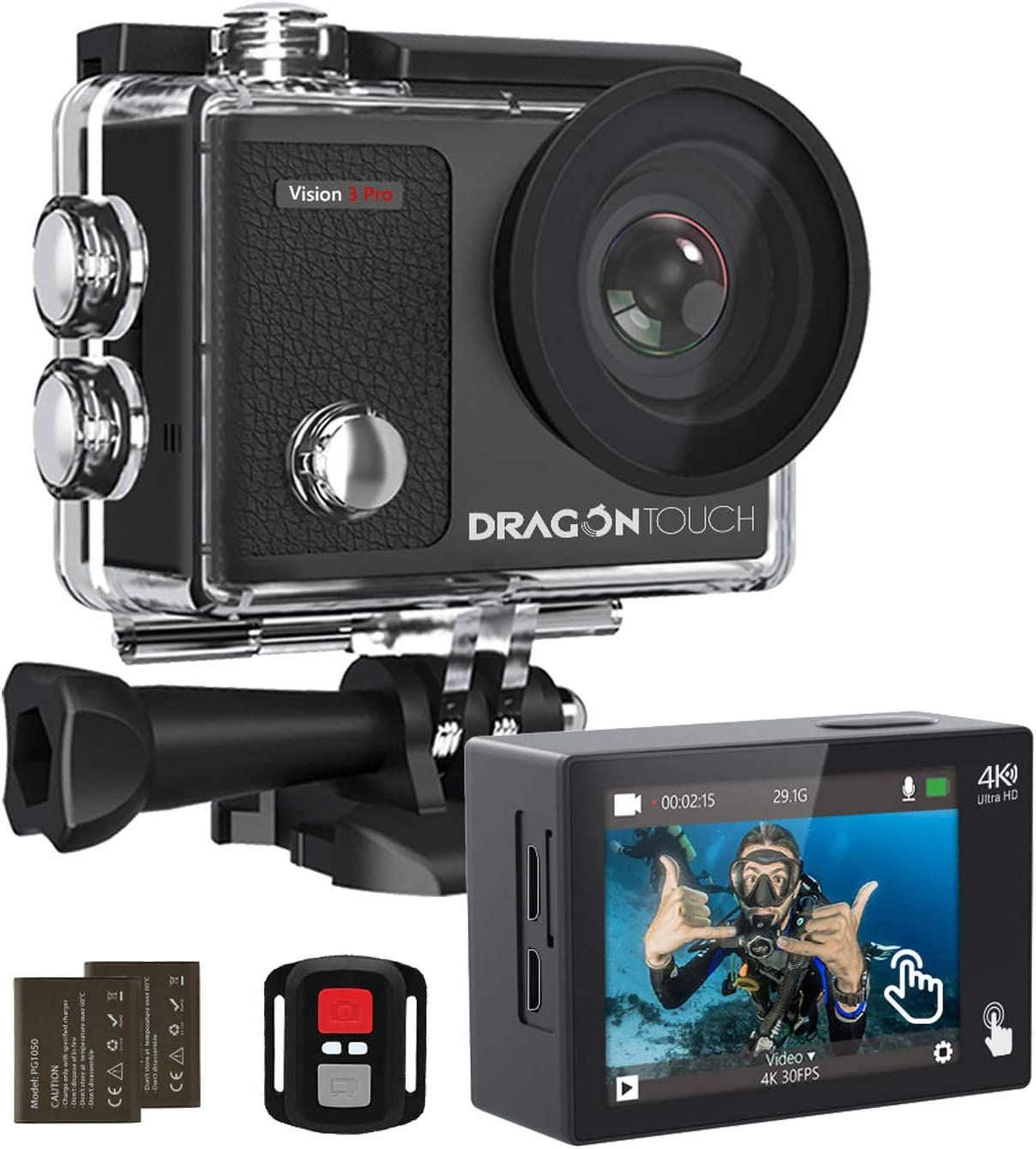 Dragon Touch 4K Action Camera Touch Screen 16MP Vision 3 Pro PC Web Camera 100 feet Waterproof Camera Adjustable View Angle WiFi Sports Camera with Remote Control and Helmet Accessories Kit : Electronics