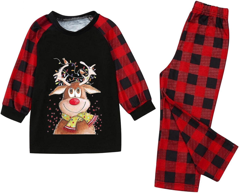 Christmas Pjs Kids Matching Family Pajamas Set Cute Elk Printed Pajama Plaid Long Sleeve Sleepwear Holiday PJ Outfits