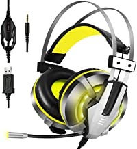 EKSA Gaming Headset for PS4, PC, Xbox One Controller, Noise Cancelling Over Ear Headphones with Mic, LED Light, Soft Memory Earmuffs for Laptop Mac Nintendo Switch Games, Yellow