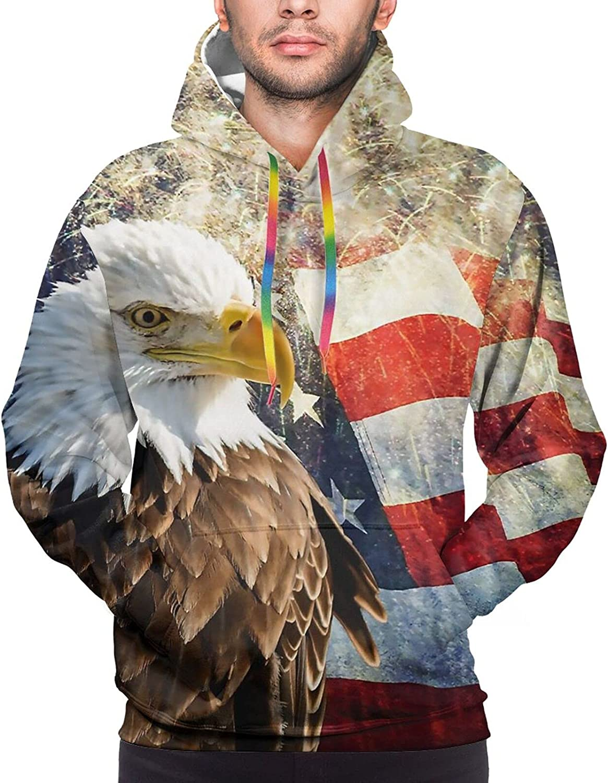 Hoodie For Mens Womens Teens Usa Flag And Eagle Hoodies Pullover Sweatshirt Pockets